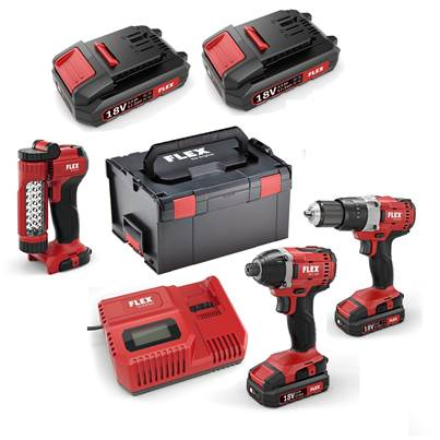 FLEX 18v Drill and Impact Driver Twin Pack With Free Work Light And 4 x 2.5Ah Batteries