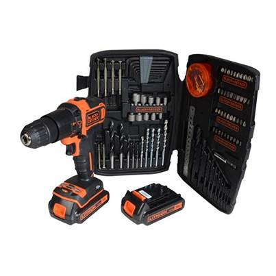 Black & Decker 2 Speed Combi Drill 18V 2 x 1.5Ah Li-Ion  150PC Accessory Kit